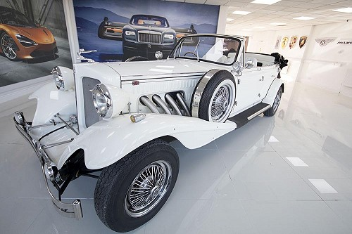 Beauford Open Tourer from front with top down