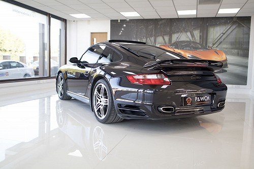 Black Porsche 911 turbo back
