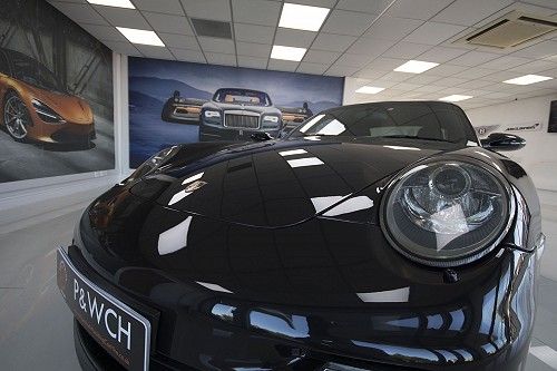 Black Porsche 911 turbo front light
